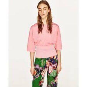 NEW ZARA Pink Smocked Waist Bell Sleeves M